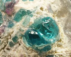 Cuprian Tourmaline on Quartz from Paraiba Mine, Brazil