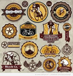 vintage design logo | Vintage Bicycles Logos and Labels vector 34 Premium Vectors Vintage ...