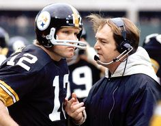 Chuck Noll and Terry Bradshaw, Steelers  No coach-QB tandem won more Super Bowls than Terry Bradshaw and Chuck Noll in their days with the Steelers in the 1970s. Pittsburgh won four Super Bowls under Bradshaw and Noll, who also totaled 107 regular-season victories over their six-year partnership.