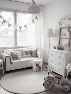 White and grey. Going for a clean and bright look in this #Nursery
