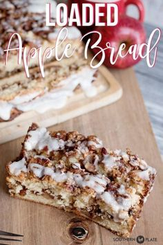 Loaded Apple Bread is a showstopper that is perfect for a sweet breakfast, afternoon pick me up, or evening coffee and conversation. Apple Recipes, Fall Recipes, Bread Recipes, Apple Desserts, Yummy Recipes, Best Pie, Apple Bread, Thanksgiving, Sweet Breakfast