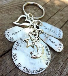 Hand Stamped Keychain I Love You To The Moon by DreamNColorDesigns, $50.00