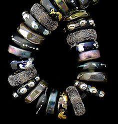 Lampwork Beads Glass Beads Steampunk Jewelry Making Craft Supplies For Jewelry Supplies Boho Bracelet Black Beads Disc Beads Debbie Sanders by debbiesanders on Etsy https://www.etsy.com/listing/152152014/lampwork-beads-glass-beads-steampunk