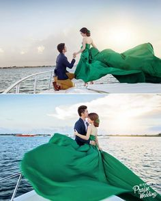 """What about a beautiful proposal + prewedding session on a boat? It doesn't get more romantic than this m'dears! Photo by Myel Studio. #weddingdress…"""