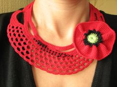 Red crochet necklace Crochet freeform jewelry Red by SkyBlueFancy,