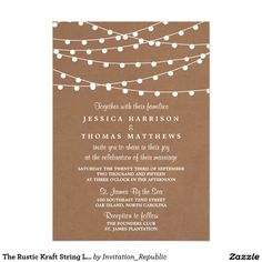 The Rustic Kraft String Lights Wedding Collection 13 Cm X 18 Cm Invitation Card