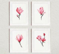 Magnolia Watercolor Print Pink Home Decor by ColorWatercolor