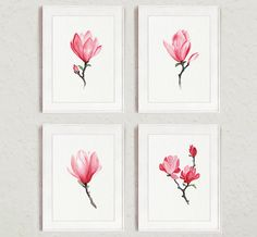 Magnolia Watercolor Print Pink Home Decor by ColorWatercolor