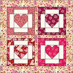 BOM February 2005 Things from the Heart at… Heart Quilt Pattern, Quilt Block Patterns, Quilt Blocks, Quilting Tutorials, Quilting Projects, Quilting Designs, Small Quilts, Mini Quilts, Paper Piecing Patterns