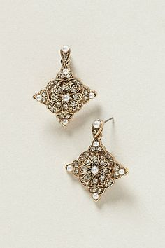 Orangerie Gold Crystal and Pearl Earrings #anthropologie #wedding