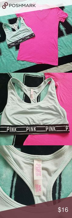 Pink Essential Tee and Crop Top (Bralette) Cute Tee in Bright Pink, dog on front left bottom hem, V-neck, Bralette in baby blue with black band with pink in bold letters, both worn a few times excellent condition PINK Victoria's Secret Tops Tees - Short Sleeve