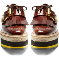 Prada Fringed leather platform loafers ($1,100) ❤ liked on Polyvore featuring shoes, loafers, fringe shoes, woven loafers, shiny shoes, fringe loafers and loafers moccasins