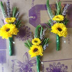 Sunflower Themed Wedding. Chrysanthemum and Lavender Buttonholes.