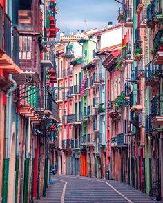 post by earthpix Have you seen the beautiful colorful streets of Pamplona, Spain 🇪🇸? Photo by . Road Trip Pays Basque, The Places Youll Go, Places To Visit, Running Of The Bulls, Destination Voyage, Travel Aesthetic, Summer Aesthetic, Spain Travel, Vacation Trips