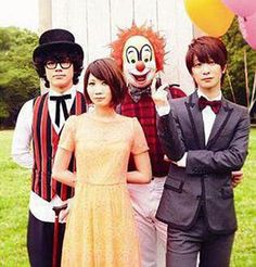 Sekai No Owari #Sekai #No #Owari #band #jpop #clown #insane #posse #niche #Japan #Music #goals #fashion #dragon #night #Fukase #Saori #Fujisaki#DJ #Love #Shininchi Nakajima #Shininchi #Nakajima #balloons #suit