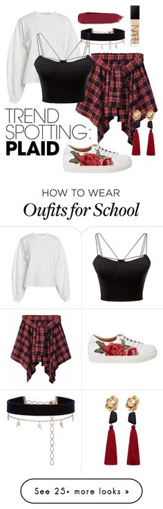 """""""School-ish Vibe"""" by sashi-krn on Polyvore featuring NLY Trend, Diane Kordas, WithChic, MANGO, NARS Cosmetics, contestentry and NYFWPlaid"""