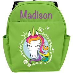 Personalized Planet Green Unicorn Personalized Backpack (30 AUD) ❤ liked on Polyvore featuring bags, backpacks, pocket backpack, unicorn bag, nylon backpacks, green bags and rucksack bags
