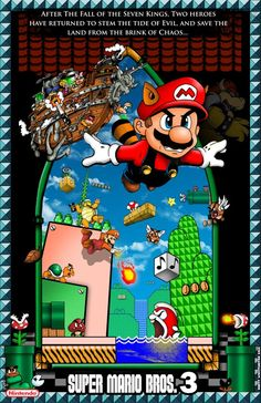 Mario Bros 3 Poster with Border by whittingtonrhett Super Mario Bros, Mario Bros Y Luigi, Super Mario Games, Super Mario Brothers, Mario Kart, Super Nintendo, Vintage Video Games, Classic Video Games, Retro Video Games