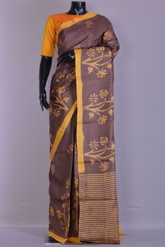 98cf540f66 Buy Light Russet Brown Printed Tussar Silk Saree Online Cotton Silk