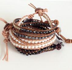 Boho beach leather and pearl natural resort island festival ethnic stone wrapbracelets by Kokomoi.nl