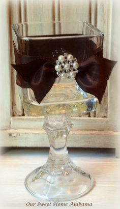 Candle Votive Table Centerpiece Rustic Shabby Chic Bling Decor - can totally diy from dollar store Diy Fleur, Diy And Crafts, Arts And Crafts, Rustic Shabby Chic, Diy Centerpieces, Dollar Tree Centerpieces, Dollar Tree Crafts, Votive Candles, Floating Candle