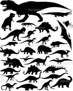 Dinosaur silhouettes — Stock Vector © milagli #19501765