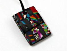 Handmade Polymer Clay Square Pendant in Mosaic Pattern by blancheandguy on Etsy