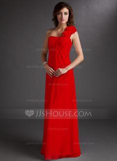 Empire One-Shoulder Floor-Length Chiffon Bridesmaid Dress With Ruffle Flower(s) (007016719) - JJsHouse