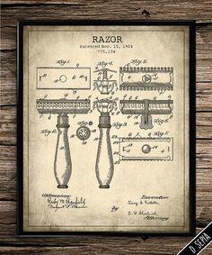 Vintage Patent Gillette Razor | Vintage Prints | Patent Prints | Bathroom Decor | Home Decor | Printable Wall Art | Instant Download