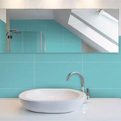 Carrelage mural loft en fa ence bleu atoll n 5 20 x 50 2 for Faience salle de bain bleu turquoise