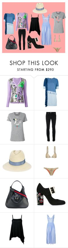 """""""Summer fashion"""" by monica022 ❤ liked on Polyvore featuring Versace, Steve J & Yoni P, Valentino, Versus, Maison Michel, ADRIANA DEGREAS, Gucci, Lanvin, forme d'expression and Ermanno Scervino"""