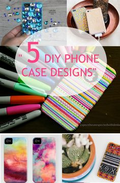 Bored of your old phone case? No need to buy an expensive new one! Here are 5 cool and cheap ways to design your phone case! See tutorials ---> http://www.discountqueens.com/5-diy-phone-case-designs/