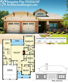 Architectural Designs Bungalow House Plan 915006CHP gives you