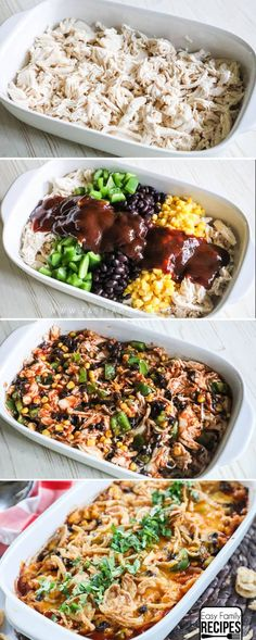 This BBQ Chicken Casserole is loaded with wholesome produce and tender shredded chicken. The combination is a kid friendly dinner idea that will have your whole family smiling! * Sooo yummy on mashed potatoes! Healthy Recipes, Cooking Recipes, Easy Recipes, Keto Recipes, Casseroles Healthy, Vegetarian Recipes, Icing Recipes, Instant Recipes, Quiche Recipes