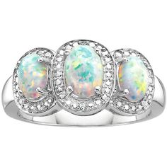 Created Opal 3-Stone Fashion Ring in Sterling Silver ($68) ❤ liked on Polyvore featuring jewelry, rings, white, sterling silver rings, sterling silver opal jewelry, sterling silver opal ring, oval three stone ring and three stone opal ring