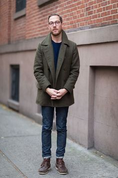 The Everlane olive peacoat, switching it up from winter basics of grey, black, and navy.