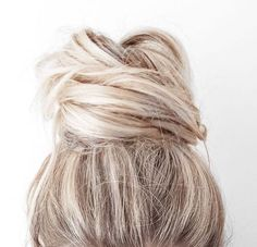 blonde + top knot