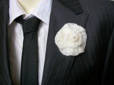 Buttonhole Boutonniere knitted rose with by thekittensmittensuk, £4.00