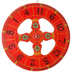 1stdibs - Vintage Gambling Wheel Brightly colored, hand painted, American, circa 1940's gaming wheel. Nice size that will display and add interest to most settings. Jefferson West Antiques offer a selection of antique and vintage decorative accessories, furniture, mirrors, lighting and other.  View over 500 items on jeffersonwest.com and be sure to visit our Culver City showroom when next in the Los Angeles area.