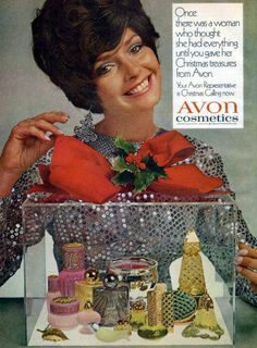 """Gift by Avon… A joy to select… A joy to give… A joy to receive!"" These Christmas adverts for Avon cosmetics date from Retro Makeup, Vintage Makeup, Vintage Avon, Vintage Beauty, Vintage Gypsy, Vintage Soul, Vintage Perfume, Vintage Gifts, Jennifer O'neill"