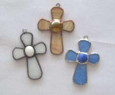 Little+crosses+stained+glass+suncatchers+trio+of+by+Faithlady,+$15.00