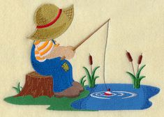 Fisherman Fred at the Fishing Hole design (H6169) from www.Emblibrary.com