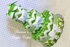 Baby Diaper Cake Lime Green Chevron with Handmade Saddle Shoes Shower Gift or Centerpiece