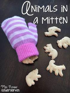 Retelling The Mitten story with  snacks for your toddler or preschooler. {From Mrs. Plemons' Kindergarten}
