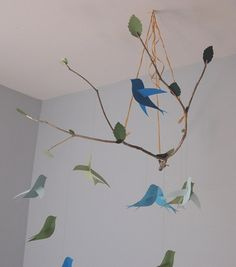 Ivory Cream and White Paper Bird Mobile by KBPaperCreations, $37.50