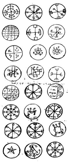 Pentacles from the Greek Key of Solomon century Occult Symbols, Ancient Symbols, Ancient Aliens, Tarot, Legends And Myths, Tattoo Project, Demonology, Ancient Mysteries, Pentacle
