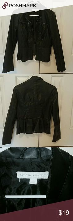 Sexy NY & Co. Faux fitted black leather jacket Sexy faux black leather jacket that can dress up your jeans and look awesome with cute tanks and high heels.  Wear around a simple dress to keep warm, but cute and sexy same time.  Excellent condition! New York & Company Jackets & Coats Blazers
