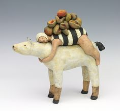 Swimmer on horse with fruit clay ceramic sculpture by sara swink
