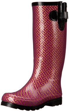 Nomad Womens Puddles Rain Boot Berry/Gold Hatch 10 M US >>> To view further for this item, visit the image link. (This is an affiliate link) Tommy Hilfiger Women, Mid Calf Boots, Rubber Rain Boots, Shoes, Women's Boots, Amazon, Berry, Image Link, Awesome