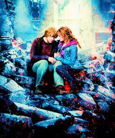 hermione granger and ron weasley | ron weasley harry potter Hermione Granger romione deathly hallows ...